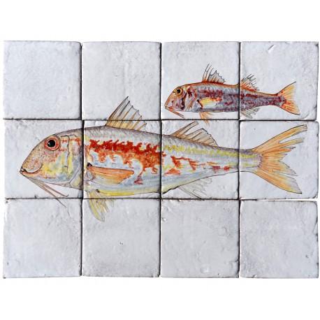 Fishes majolica panel - the Seabream