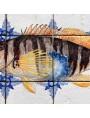 Fishes majolica panel - painted comber (Serranus scriba)