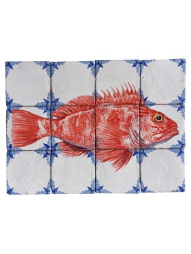 Fishes majolica panel - red scorpionfish - Scorpaena scrofa