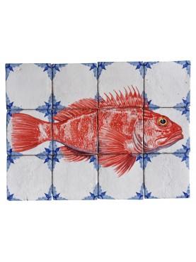 Pannello maiolica pesci - scorfano rosso - Scorpaena scrofa