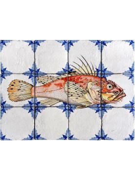Fishes majolica panel - small red scorpionfish - Scorpaena notata