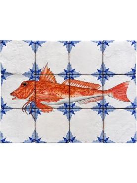 Fishes majolica panel - tub gurnard, Chelidonichthys lucerna