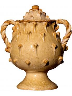 Majolica vase repro of medieval pot