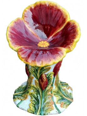 Majolica seat Red pansy flowers garden seat