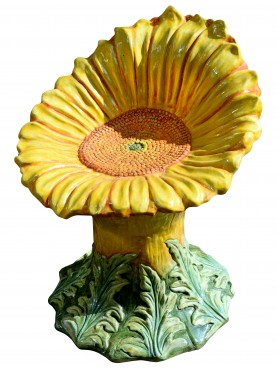 Stool in the form of a majolica flower