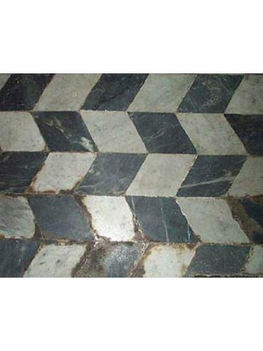 Marble Floor with asymmetrical rhombuses mounted in a herringbone pattern