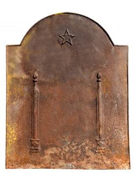 Lastra in ghisa per camino antica originale settecentesca con pentacolo