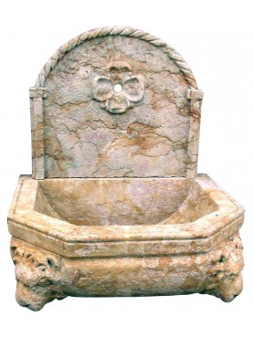Fontanella in marmo Giallo reale - due leoni