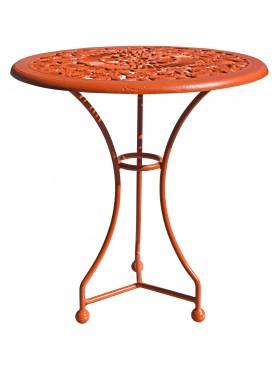 Tavolino rotondo in ghisa e ferro con le rose