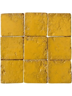 Tile Saffron color 10x10 Majolica Hand-Made called FONDO ARANCIO