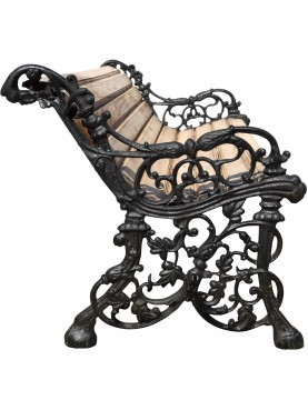 Castiron and teak bench, design Coalbrookdale Company