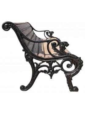 Castiron and teak armchair, design Coalbrookdale Company 1866