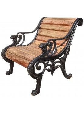 Castiron and teak armchair, design Coalbrookdale Company