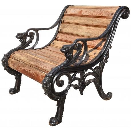 Poltrona in ghisa e legno, design di Coalbrookdale Company