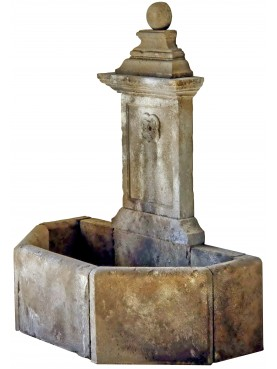 French Stone fountain in limestone with ball