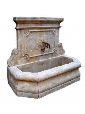 Great French fountain in limestone