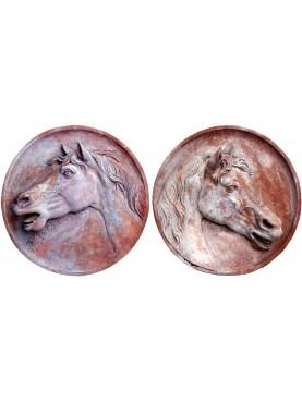 Coppia di tondi grandi - Cavalli in Terracotta