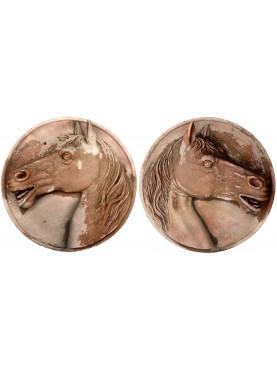 Coppia di tondi piccoli con Cavalli in Terracotta