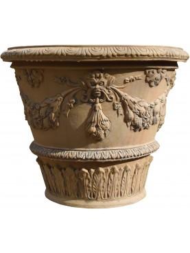 Vaso da Limoni con festoni Ø70cm terracotta Impruneta conca