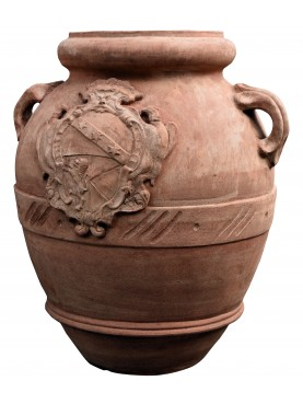 Oliveoil jare with Ginori coat of arms terracotta