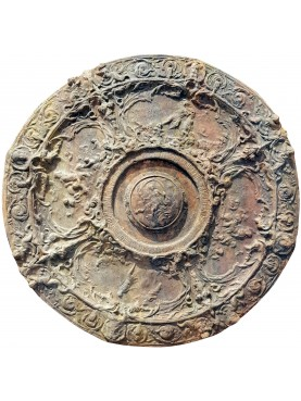Terracotta shield from a cast of an artefact of Benvenuto Cellini