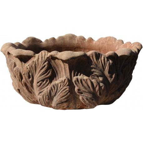 Cassetta in terracotta con foglie di acanto