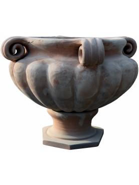 Grande vaso rinascimentale umbro baccellato, con anse