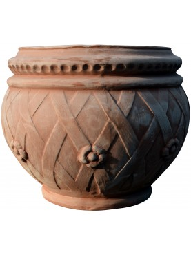 Cachepot intrecciato in terracotta