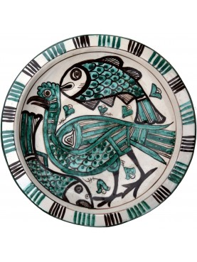Bacini ceramici medioevali pisani - uccello e pesci