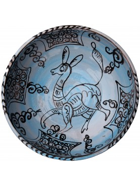 Copy of an ancient medieval Tuscan blue dish fawn