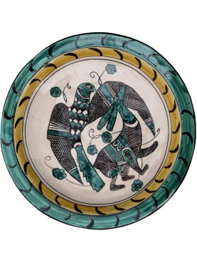 Copy of an ancient medieval dish - falconry hunting