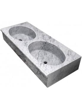 Lavandino in marmo bianco di Carrara a due buche ovali