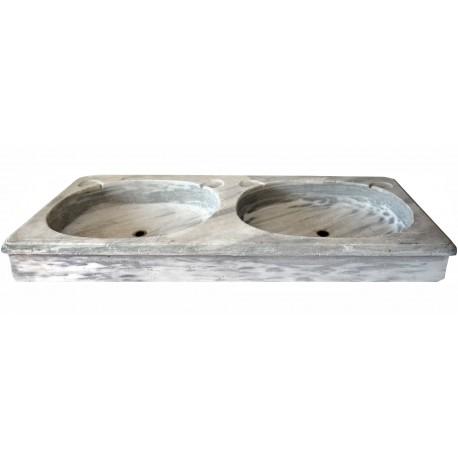 Lavandino in marmo bianco venato a due buche ovali