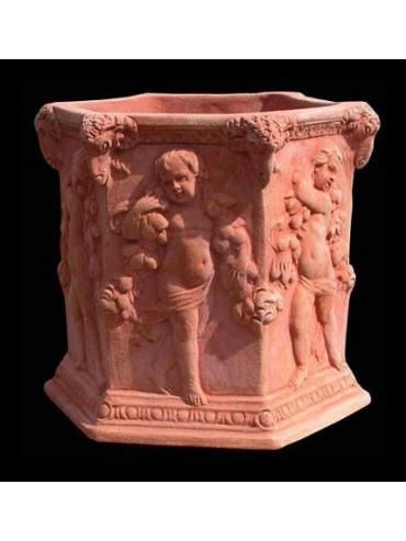 Hexagon adorned vase with children