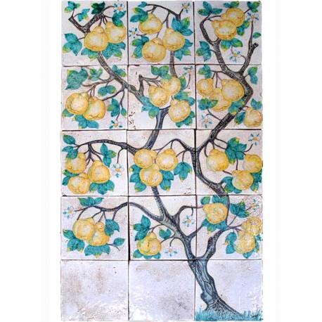 L'albero delle Pere Cotogne pannello di maiolica