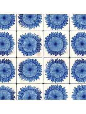 Majolica tile panel - blue sunflowers
