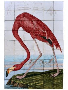 Fenicottero Flamingo americano di Audubon pannello di piastrelle in maiolica