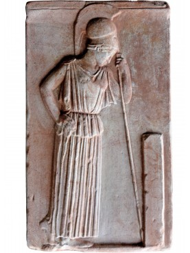Meditating Athena - Greek terracotta bas-rilief