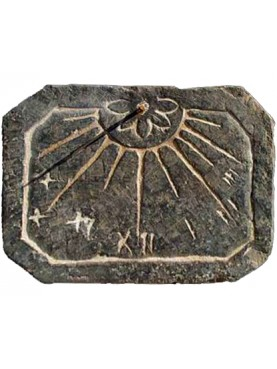 Octagonal sundial in Black slate from Liguria