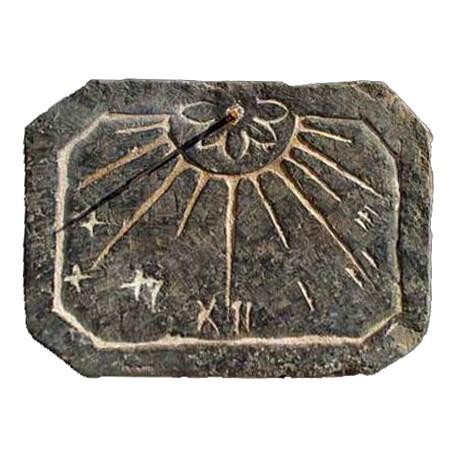 Octagonal sundial in Black slate from Liguria
