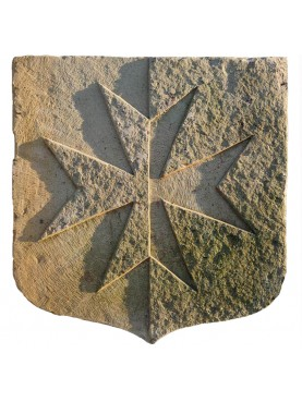 Maltese cross carved in stone