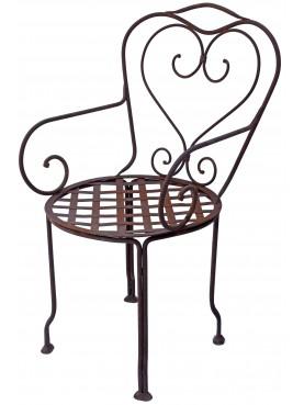 Sedia con braccioli ferro battuto