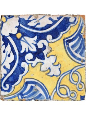 Ancient italian Majolica tile Giustiniani glazed tiles