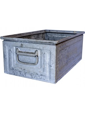 Antica cassetta metallica in ZINCO da officina marca SCHAFER