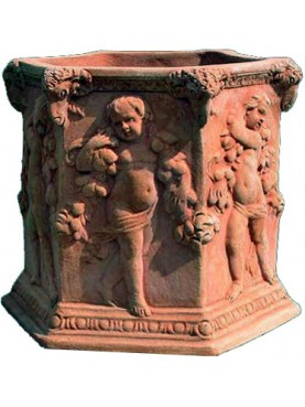 Terracotta Hexagon adorned vase with children