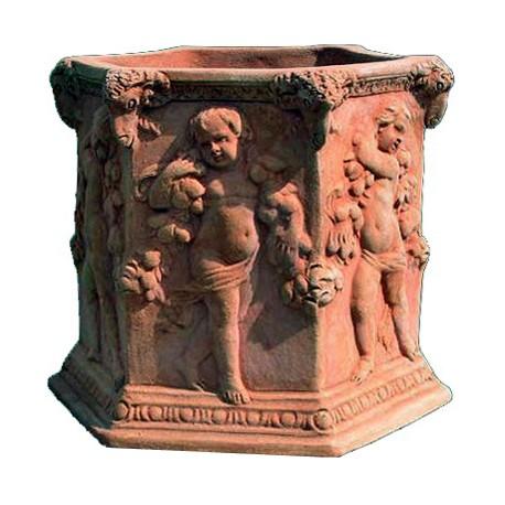Terracotta Hexagon adorned vase with children