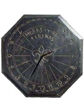 Slate Octagonal sundial with latin inscription