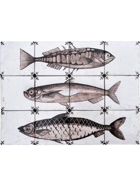 Pannello maiolica pesci - Boccaccia - Serranus scriba