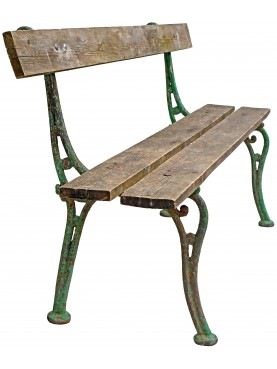 Panchina con gambe in ghisa antiche e stecche di legno