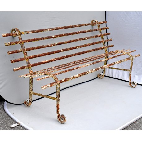 Ancient Wrought iron bench - 4 places
